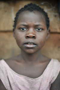 A young girl at a camp for displaced persons in Rwanda's Western Province.