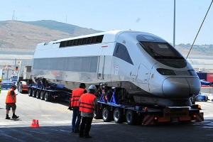 When Africa's first high-speed rail system begins service in Morocco in 2018, travel time from Tangier to Casablanca will be cut in half, from five hours to 2 hrs 10 min. Here an engine is being loaded onto a customised truck for transport to the railroad. Africa is constantly improving its rail systems, and autonomous trains will be the next essential innovation. Image courtesy: Morocco World News https://www.moroccoworldnews.com/2015/07/162167/in-pictures-moroccos-tgv-africas-first-high-speed-train/